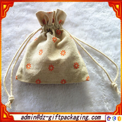 Promotion Eco Reusable Christmas Small Drawstring Linen Bag For Candy