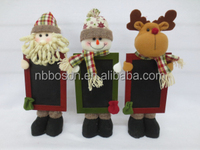 christmas standing dolls with holding blackboard