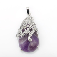 Fashion Amethyst Teardrop Carved Flower Healing Crystal Chakra With Plated Zinc Alloy Pendant Natural Gemstone Jewelry