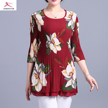 new fashion wholesale plain printed long crushed sleeve t- shirt for women