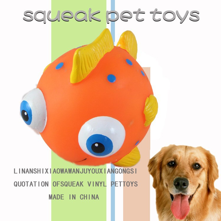 2015 new design fish shaped squeaky vinyl dog toy