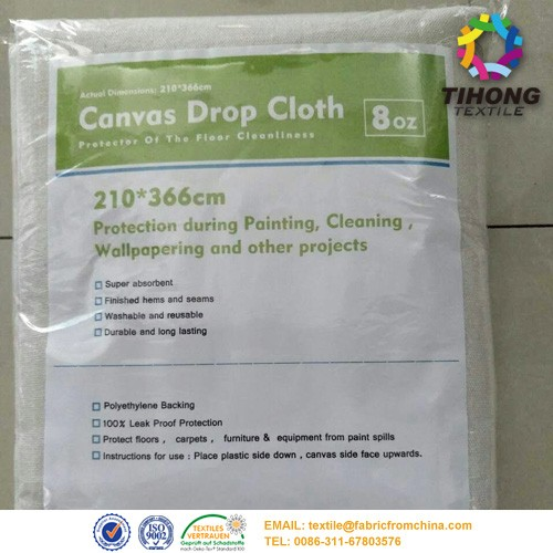 100% cotton canvas drop cloth fabric from <strong>China</strong> supplier