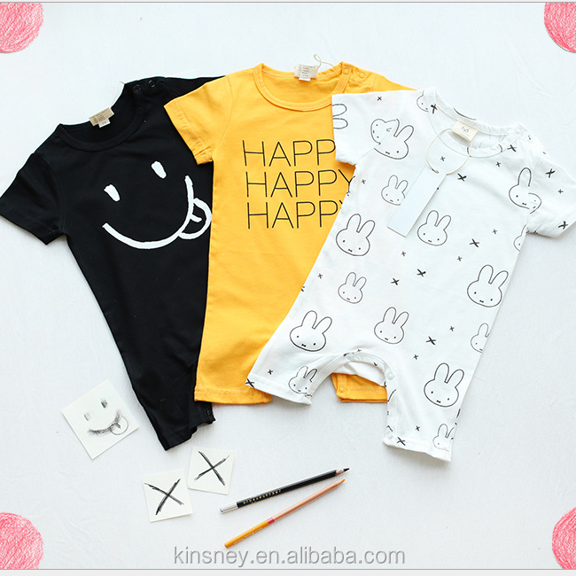 KS40264bg Cute print design baby cotton summer romper simple bulk infant rompers