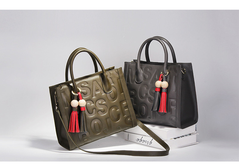 Women's fashion bag genuine leather material with hot stampping letters tote bag YF3076