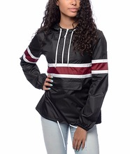 Fashion Black Windbreaker Packable Half Zip Windbreaker Jacket Womens