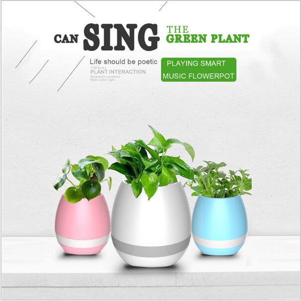 Hot Sale 2017 New Arrival Factory Supply LED Music Vase, Plant Smart Music Flowerpot Bluetooth Speaker Dancing Green