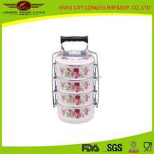 4PCSChina Wholesale Removable Enamel Tiffin Carrier With Decal