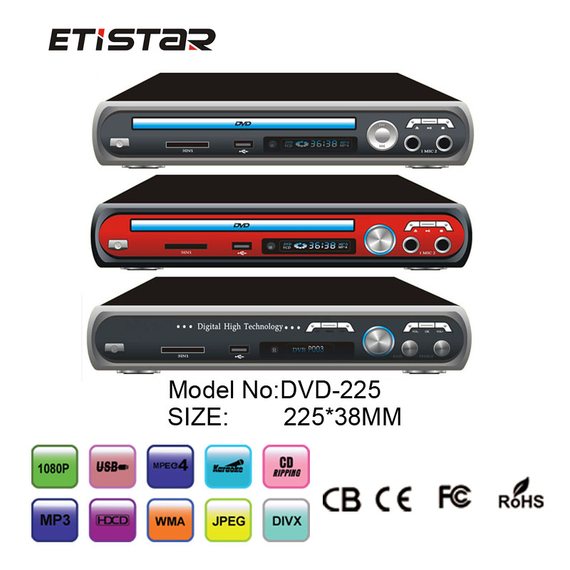 Multi function dvd with usb sd card mic support divx rmvb superior dvd player