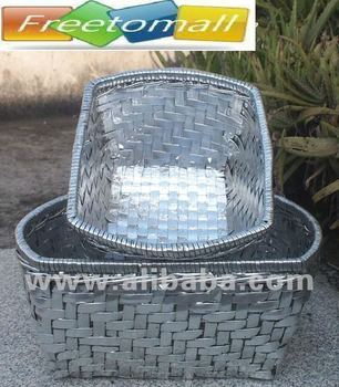 Freetomall Home & Garden Export Silver Vintage Rattan style storage Basket