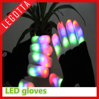 Party entertainment flashing light up rainbow color finger black led gloves