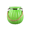 Fashion color sprayed//electroplated glass candle jar with rope handle for wedding/home decoration