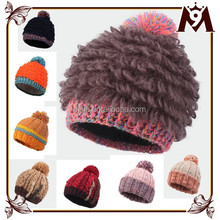 Hot sale winter new style ladies colorful design knit crocheted hat