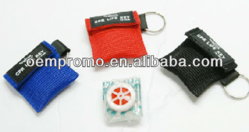 CPR face shield key ring pouch, CPR course emergency face for key ring, Cpr Shield In Keychain Pouch