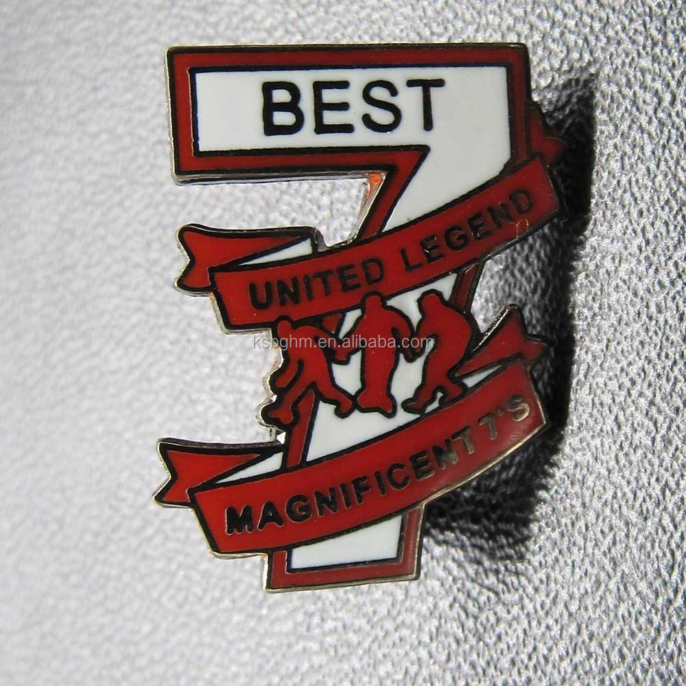 Custom best quality imitation hard enamel number 7 badge/ metal sports trading pin /UNITED LEGEND
