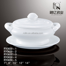 New design hotel restaurant durable white porcelain chinese soup tureen