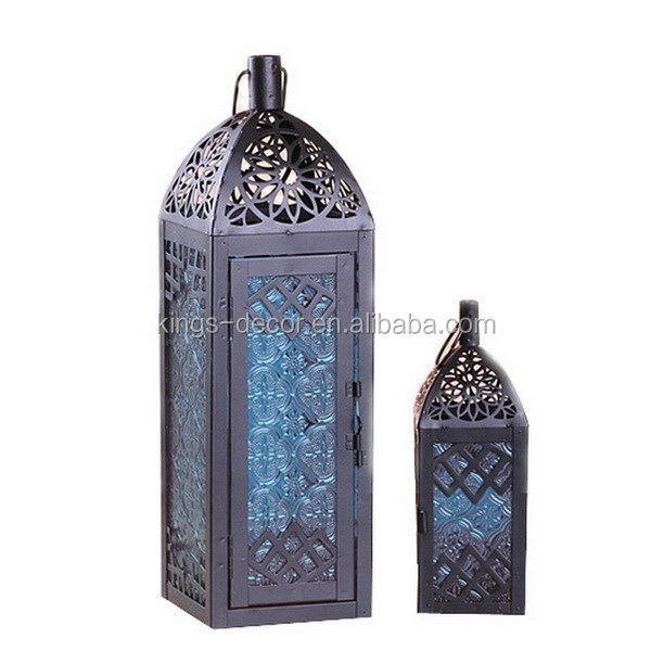 moroccan blue glass color metal lanterns