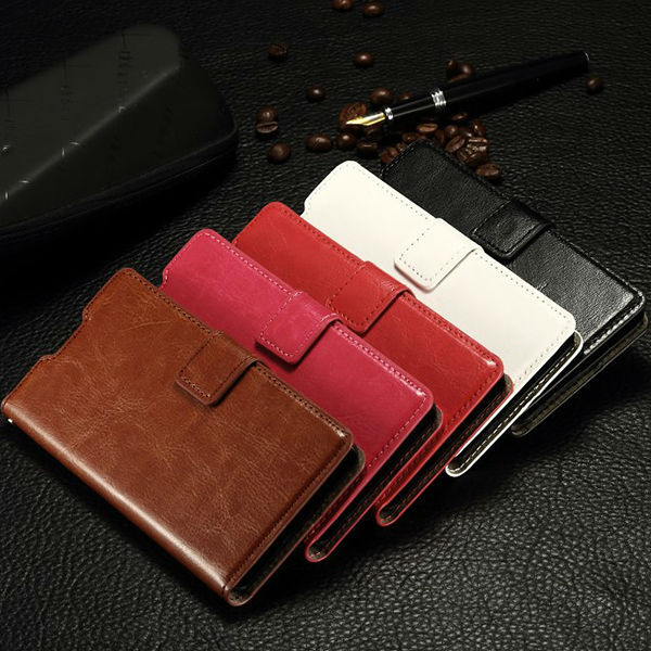 China crazy horse grain pu leather card slot photo frame wallet case for sony xperia z4
