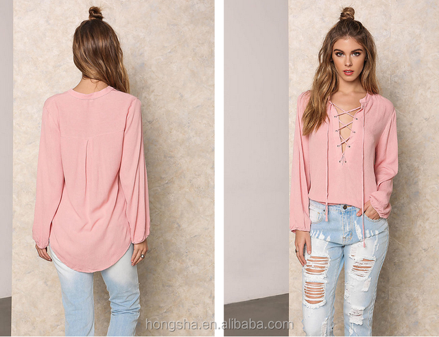 Latest Fashion Design Dusty Pink Crepe Lace Up Hi-Lo Blouse Ladies Blouses And Tops for women 2016 HST5250