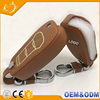New design glowing leather car key case cover 2 button smart remote car key shell skins for FORD