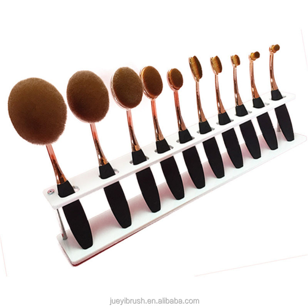 6pieces10 Pieces Soft Oval Toothbrush Foundation Blush Cosmetic Makeup Brush Sets holders ,brushes makeup tools