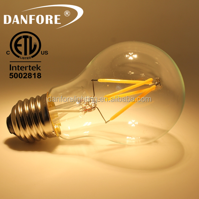 E27 B22 A60 a19 4W Dimmable edison bulb filament led light