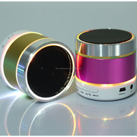 Portable mini bluetooth speaker with FM radio, TF card and usb slot, hands free call, colorful led lighting as christmas gift