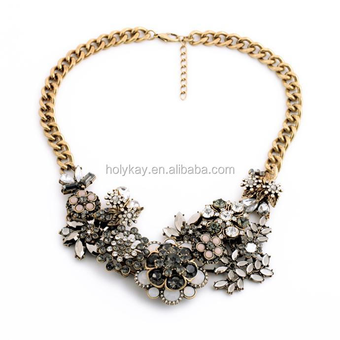2015 fashion metal crystal floral necklace, jewelry dropship