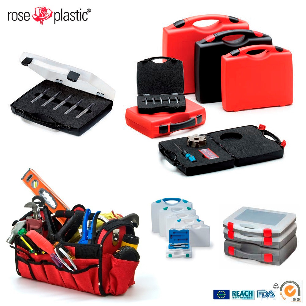 Plastic portable handheld set tool box with labelling logo printing and foam customization RCEL