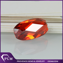 Oval shape irregular cut synthetic red cubic zirconia for 925 silver jewelry