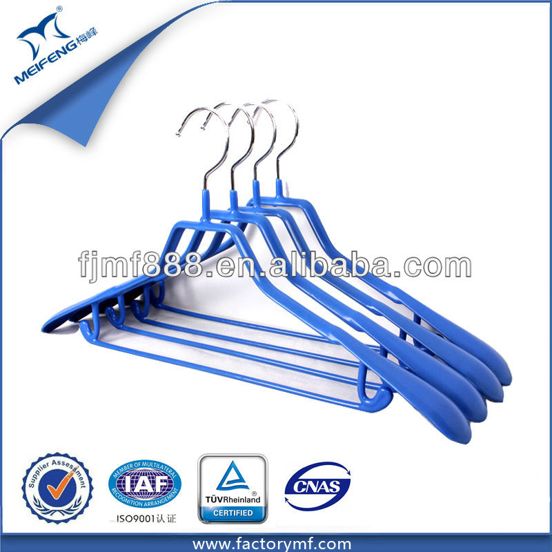 Clothes Organizer Blue Non-Slip Metal Exhaust Rubber Hanger