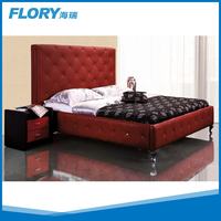 2015 Lastest Design Modern leather bed wooden bed B9039