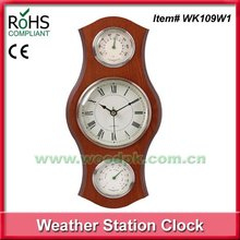 Woodpecker home weather station wall clock with thermometer hygrometer