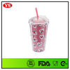 decorated bpa free wholesale 16oz acrylic tumbler with dome lid and straw