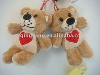 cute stuffed animals soft plush bear toy keychain with a red heart