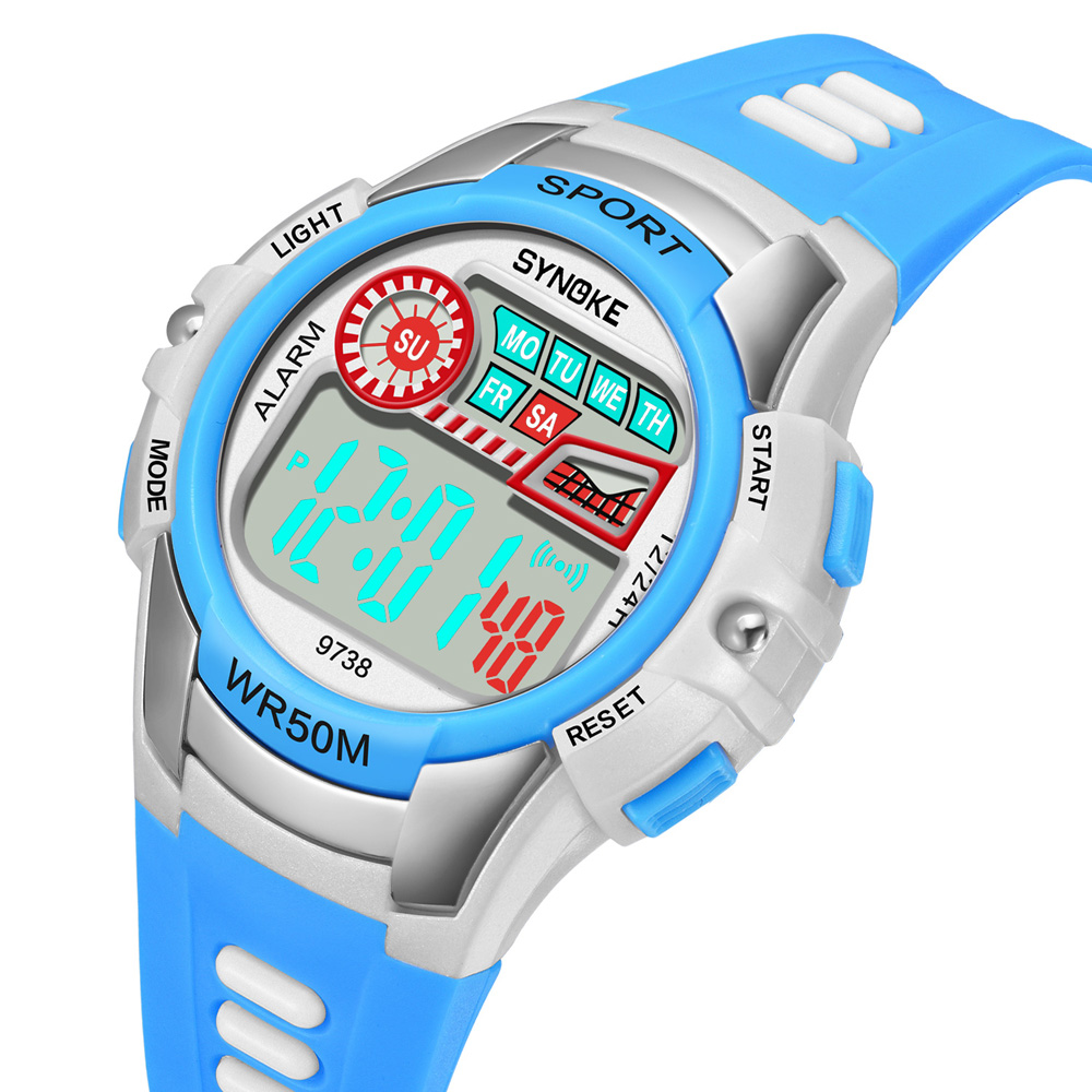 <strong>Hot</strong> Children's Sport Watch 9738 Synoke Digital Watch With EL Light 50m Waterproof 12/24 Hour Clock