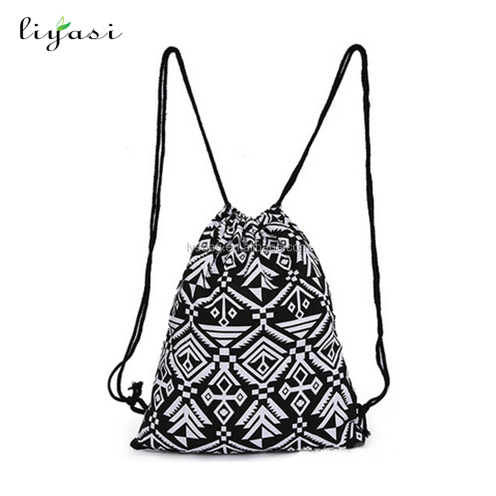 Trendy Organic Canvas Sports Backpack Used Cotton Drawstring Gym Bag