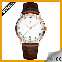 Bonill 2015 new custom model stainless steel Italian genuine calf leather watches own brand