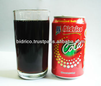 Carbonated Soft Drink in 330ml Aluminum Can - Cola flavor - Bidrico Brand