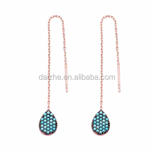 2017 <strong>fashion</strong> pave nano turquoise rose gold chain earring wire