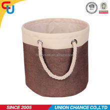 Imitation linen with polyester round shape storage laundry bin