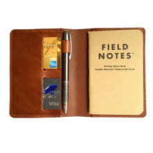 Custom full grain vegetable tan leather pen/card holder refill notebook journal
