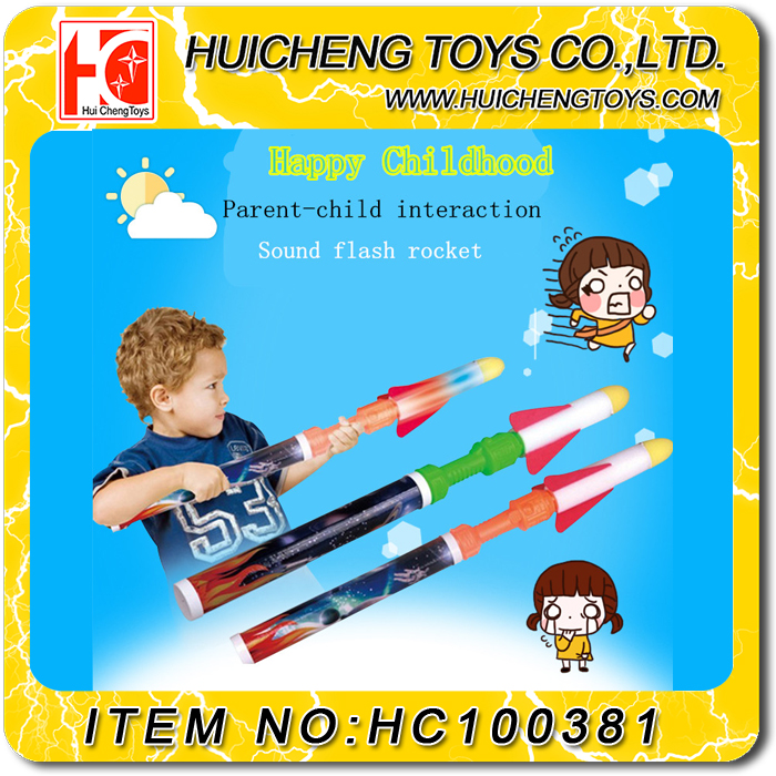 Factory hot sale funny flashing EVA launcher toys foam rocket with sound