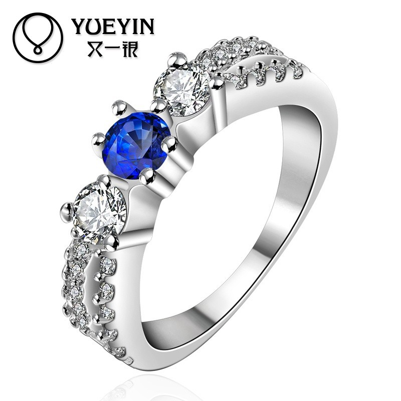Charming Dark Blue Stone Ladies Brass 925 Silver Graduation <strong>Ring</strong>