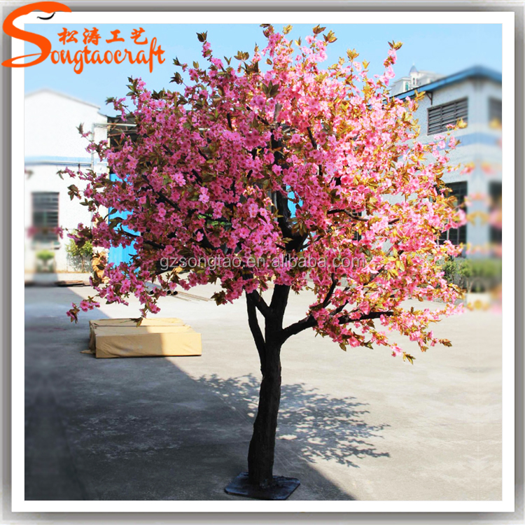 slim tree artificial pink flower tree/artificial cherry blossom tree