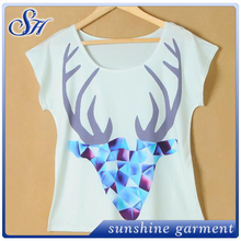 Hotsale white custom design fashion o-neck t-shirt screen 3D printing