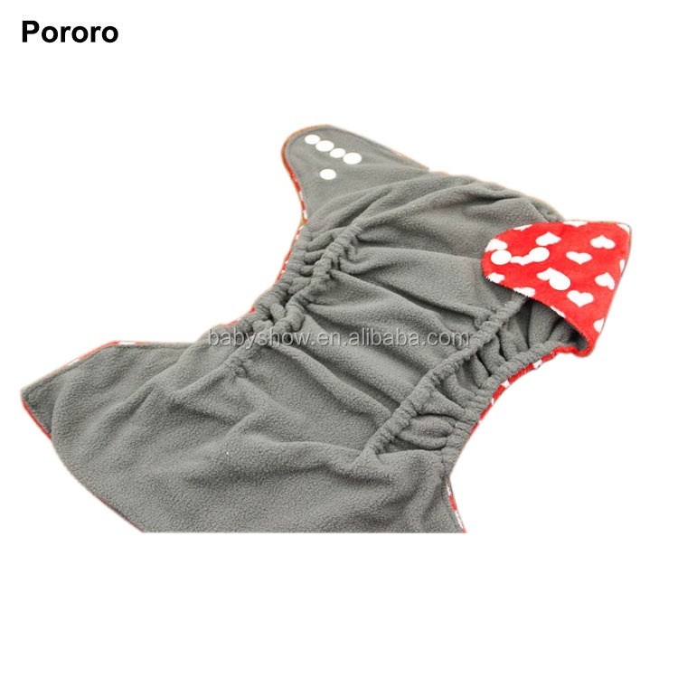 Fashion Design Hot Sale Double Row Snaps Minky Printing Bamboo Charcoal Inner Double Gussets Leakproof Adjustable Cloth Diaper