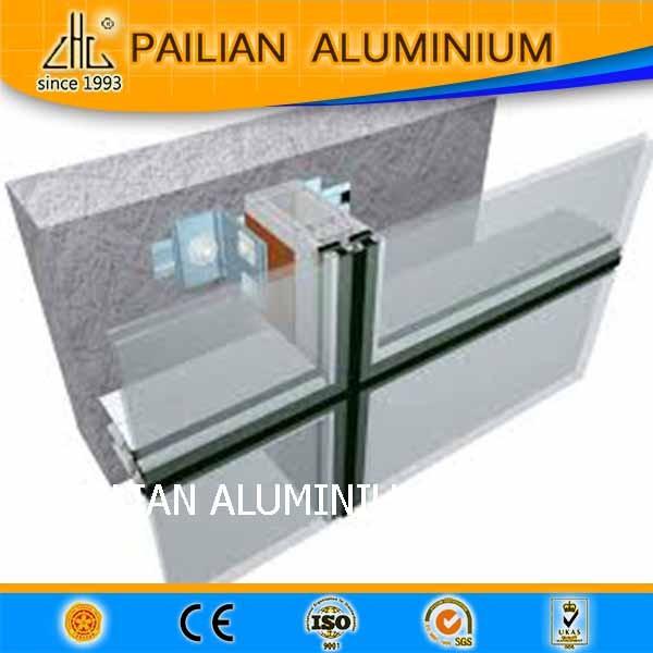 Stick system curtain wall aluminum glass wood mullion