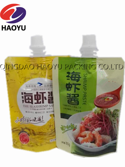 Stand up plastic spout pouch for sauce Printed foil standing pouch with nozzle for salad bag / tamato paste packaging