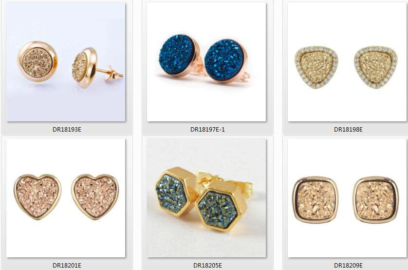 925 Sterling Silver Druzy Jewelry Gold Plated Trillion Cut Druzy Stud Earrings For Girls