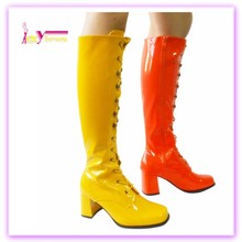 Fashion Club High Heels Boots Knee Patent pu leather boots ladies low heel shoes